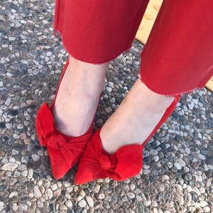 Banana Republic Red Suede Bow Pumps